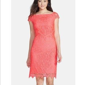 Nue By Shani Neon Pink Lace Cap Sleeve Dress 6